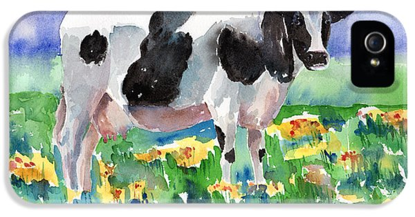 Cow iPhone 5 Case - Cow In The Meadow by Arline Wagner