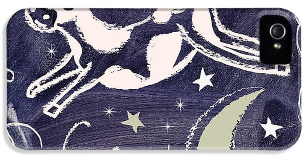 Cow iPhone 5 Case - Cow Jumped Over The Moon Chalkboard Art by Mindy Sommers