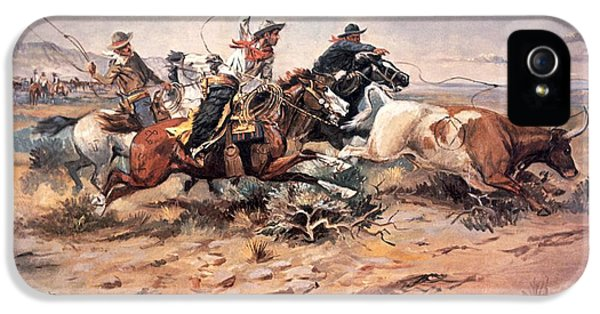 Cowboys Roping A Steer IPhone 5 Case by Charles Marion Russell