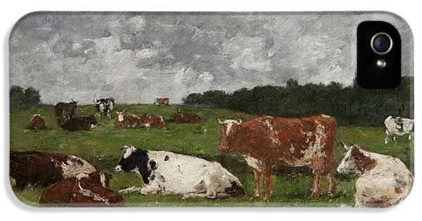 Cows At The Pasture IPhone 5 Case by Eugene Louis Boudin