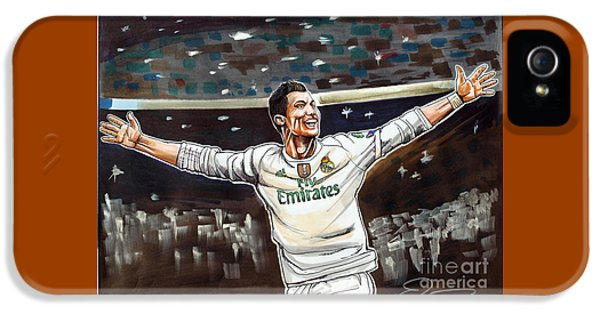 Cristiano Ronaldo Of Real Madrid IPhone 5 Case by Dave Olsen