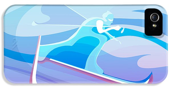 Cross iPhone 5 Case - Cross County Skier Abstract by Sassan Filsoof