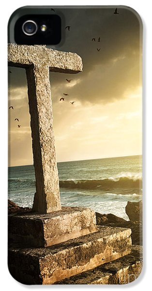 Cross In A Cliff IPhone 5 Case by Carlos Caetano