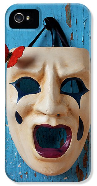 Crying Mask And Red Butterfly IPhone 5 Case by Garry Gay