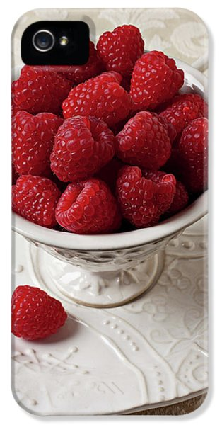 Cup Full Of Raspberries  IPhone 5 Case by Garry Gay