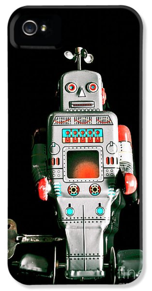 Cute 1970s Robot On Black Background IPhone 5 Case