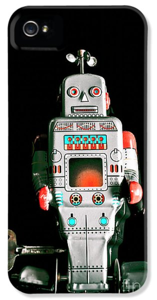 Cute 1970s Robot On Black Background IPhone 5 Case by Jorgo Photography - Wall Art Gallery