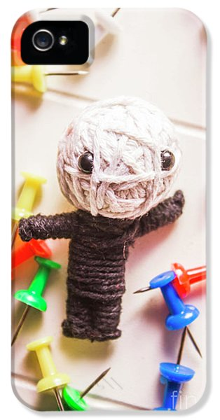 Cute Doll Made From Yarn Surrounded By Pins IPhone 5 Case by Jorgo Photography - Wall Art Gallery