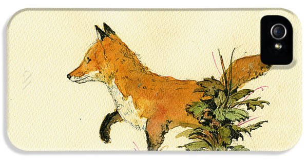 Cute Fox In The Forest IPhone 5 Case by Juan  Bosco