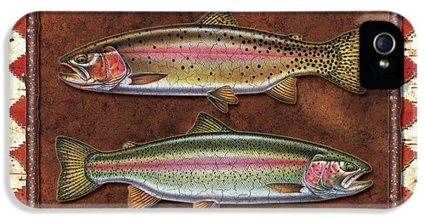 Cutthroat And Rainbow Trout Lodge IPhone 5 / 5s Case by JQ Licensing