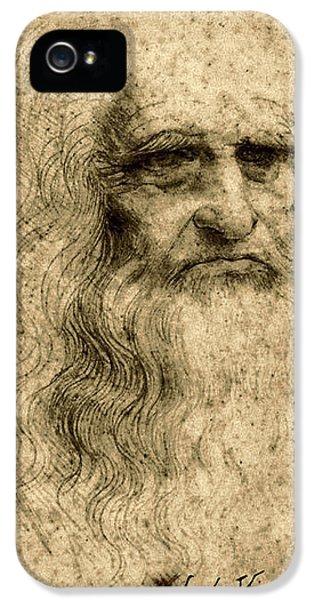 Da Vinci Self Portrait Remastered By Da Vinci IPhone 5 Case by Tony Rubino