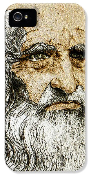 Da Vinci Self Portrait Remastered With Added Color By Da Vinci IPhone 5 Case by Tony Rubino