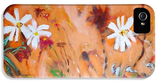 IPhone 5 Case featuring the painting Daisies Along The Fence by Winsome Gunning
