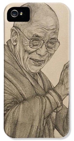 Dalai Lama Tenzin Gyatso IPhone 5 Case by Kent Chua