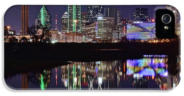 Dallas Reflecting At Night IPhone 5 Case by Frozen in Time Fine Art Photography
