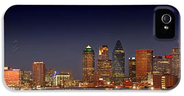 Dallas iPhone 5 Case - Dallas Skyline At Dusk Big Moon Night  by Jon Holiday