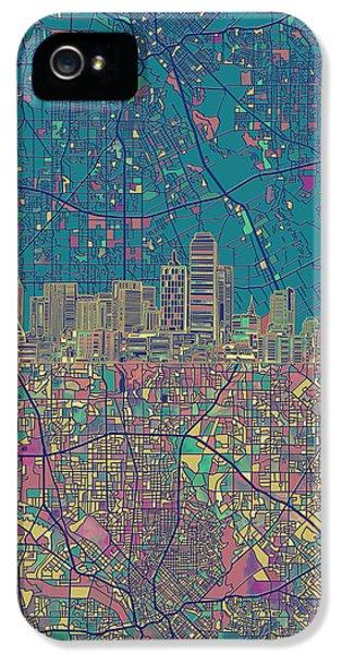 Dallas Skyline Map Green IPhone 5 Case