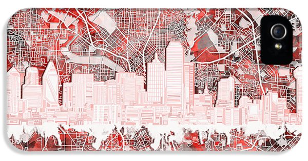 Dallas Skyline Map Red 2 IPhone 5 Case