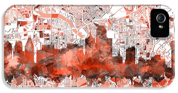 Dallas Skyline Map Red IPhone 5 Case
