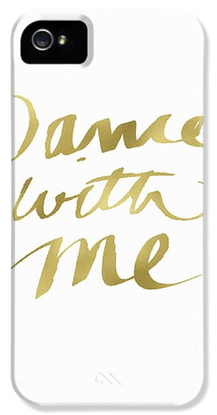 Dance With Me Gold- Art By Linda Woods IPhone 5 Case by Linda Woods