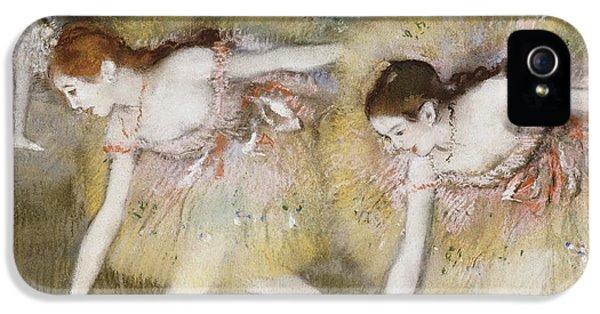 Dancers Bending Down IPhone 5 Case by Edgar Degas