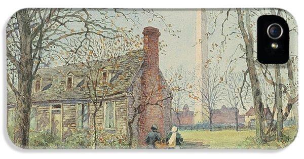 Washington Monument iPhone 5 Case - David Burns's Cottage And The Washington Monument, Washington Dc, 1892  by Walter Paris