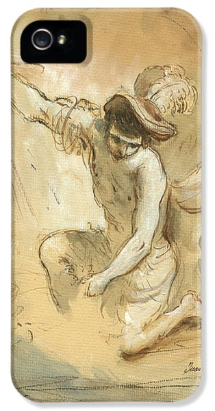 Pencil Drawing iPhone 5 Case - David Figure Drawing by Juan Bosco