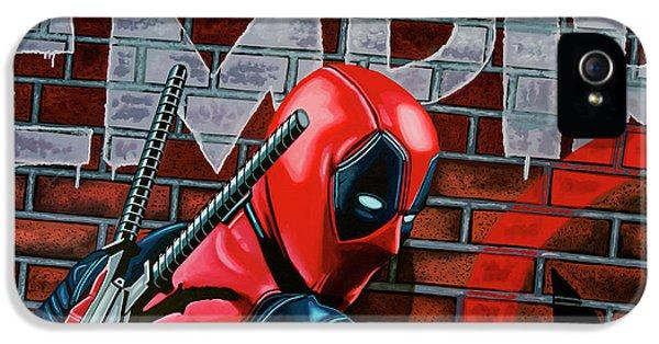 Deadpool Painting IPhone 5 Case by Paul Meijering