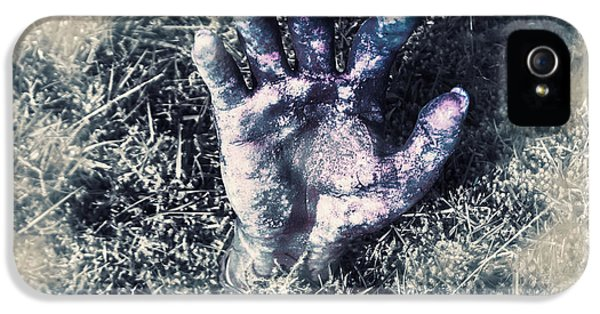 London Tube iPhone 5 Case - Decaying Zombie Hand Emerging From Ground by Jorgo Photography - Wall Art Gallery