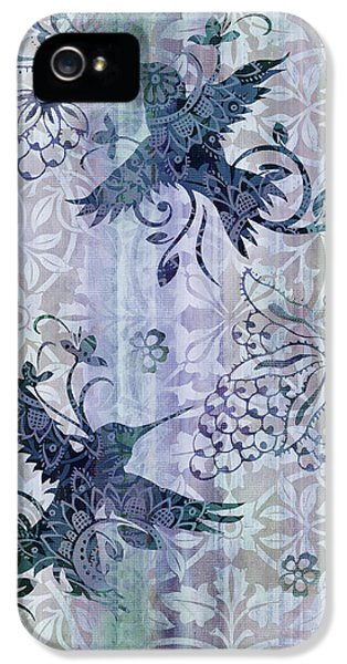 Songbird iPhone 5 Cases - Deco Hummingbird Blue iPhone 5 Case by JQ Licensing