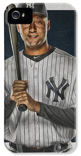 Derek Jeter iPhone 5 Case - Derek Jeter New York Yankees Art by Joe Hamilton