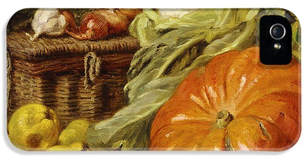 Cauliflower iPhone 5 Case - Detail Of A Still Life With A Basket, Pears, Onions, Cauliflowers, Cabbages, Garlic And A Pumpkin by Eugene Claude