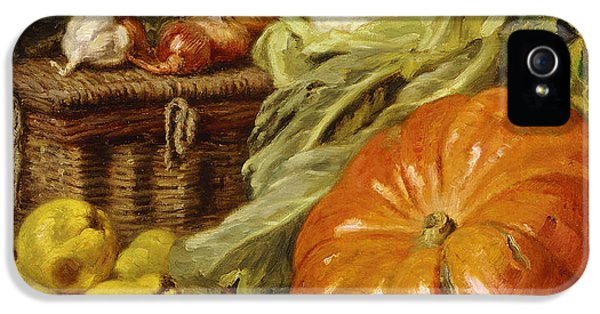 Detail Of A Still Life With A Basket, Pears, Onions, Cauliflowers, Cabbages, Garlic And A Pumpkin IPhone 5 Case by Eugene Claude