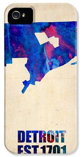 Detroit Watercolor Map IPhone 5 Case by Naxart Studio