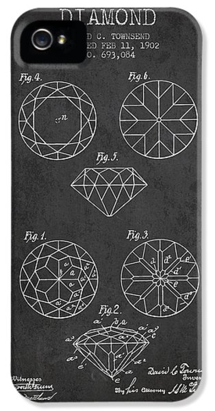 Diamond Patent From 1902 - Charcoal IPhone 5 Case by Aged Pixel