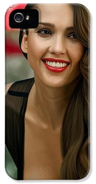 Digital Painting Of Jessica Alba IPhone 5 Case by Frohlich Regian