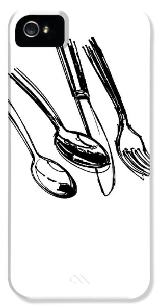 Diner Drawing Spoons, Knife, And Fork IPhone 5 / 5s Case by Chad Glass