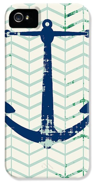 Distressed Navy Anchor V2 IPhone 5 Case by Brandi Fitzgerald