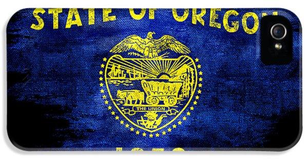 Oregon State iPhone 5 Case - Distressed Oregon Flag On Black by Jon Neidert