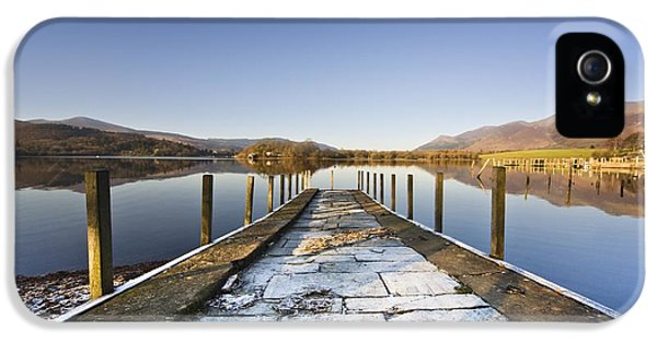 Colour Image iPhone 5 Cases - Dock In A Lake, Cumbria, England iPhone 5 Case by John Short