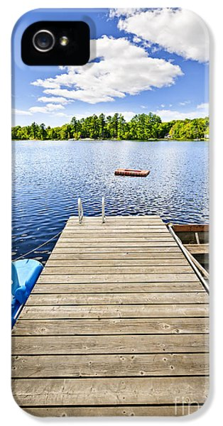 Dock On Lake In Summer Cottage Country IPhone 5 Case by Elena Elisseeva