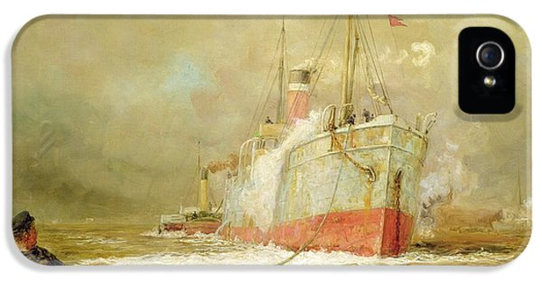 Docking A Cargo Ship IPhone 5 Case by William Lionel Wyllie