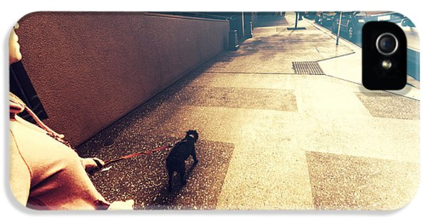 Dog Assisting Blind Woman On Urban Street IPhone 5 Case