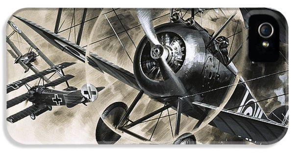 Dog Fight Between British Biplanes And A German Triplane IPhone 5 Case by Wilf Hardy