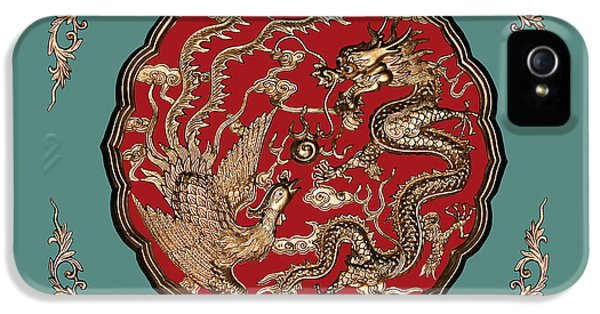 Dragon iPhone 5 Case - Dragon And Phoenix by Kristin Elmquist
