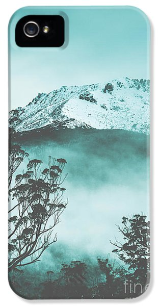 Dramatic Dark Blue Mountain With Snow And Fog IPhone 5 Case