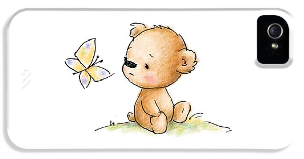 Drawing Of Cute Teddy Bear With Butterfly IPhone 5 Case by Anna Abramska