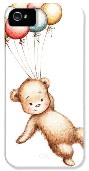 Drawing Of Teddy Bear Flying With Balloons IPhone 5 Case by Anna Abramska