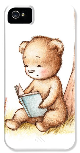 Drawing Of Teddy Bear Reading A Book Under Tree IPhone 5 Case by Anna Abramska