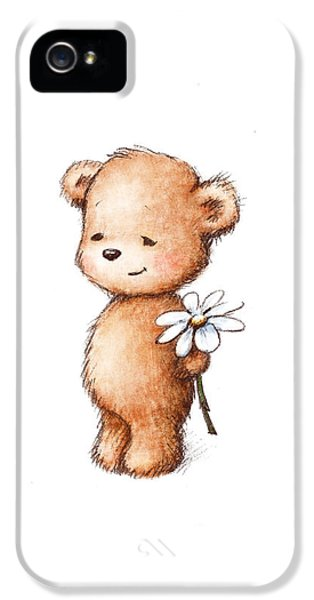 Drawing Of Teddy Bear With Daisy IPhone 5 Case by Anna Abramska